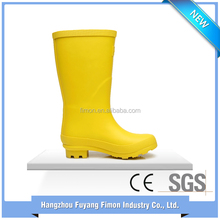 Cheap wholesale manufacturer yellow kids rubber safety rain boots