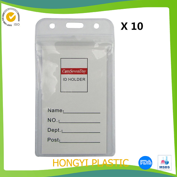 Waterproof Vertical PVC ID Card Pocket, Badge Holder With Resealable Ziplock Top, Best For Business
