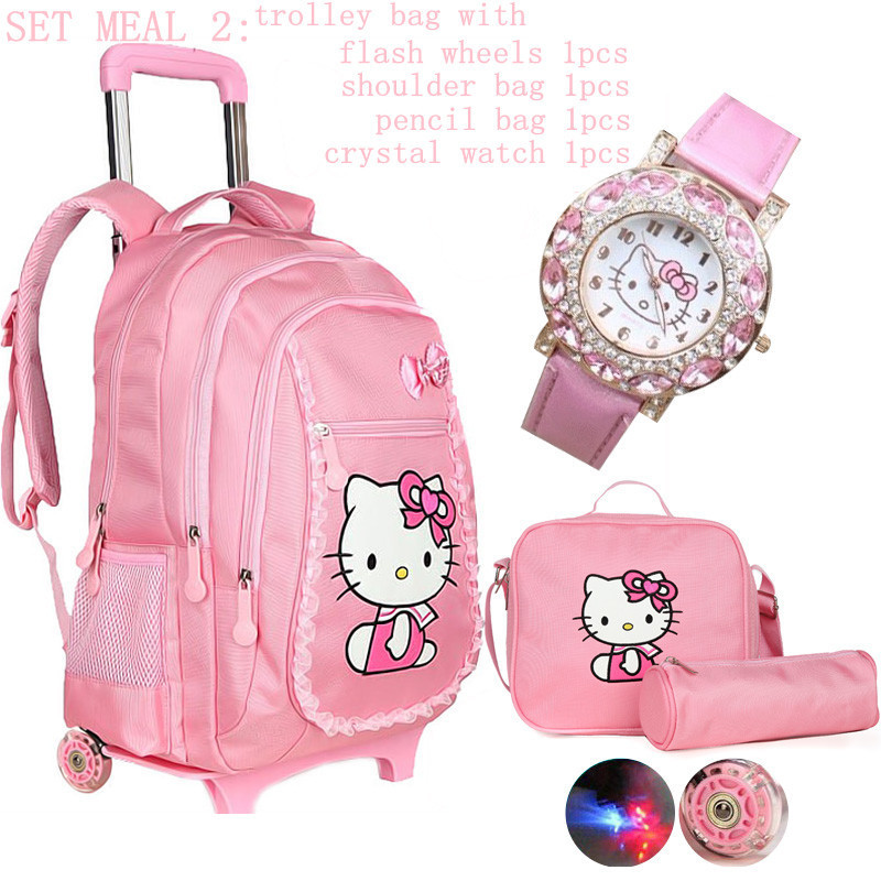 Kid Girls/'s Rolling Backpack Flashy Wheels Wheeled School Bag Travel Luggage New