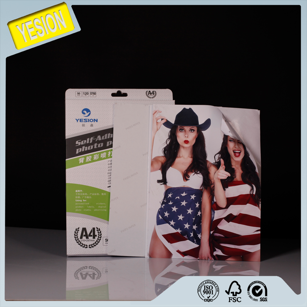 Yesion High Quality A4 A3 Glossy Self adhesive Photo Paper Used for Inkjet Printer 115gsm-150gsm