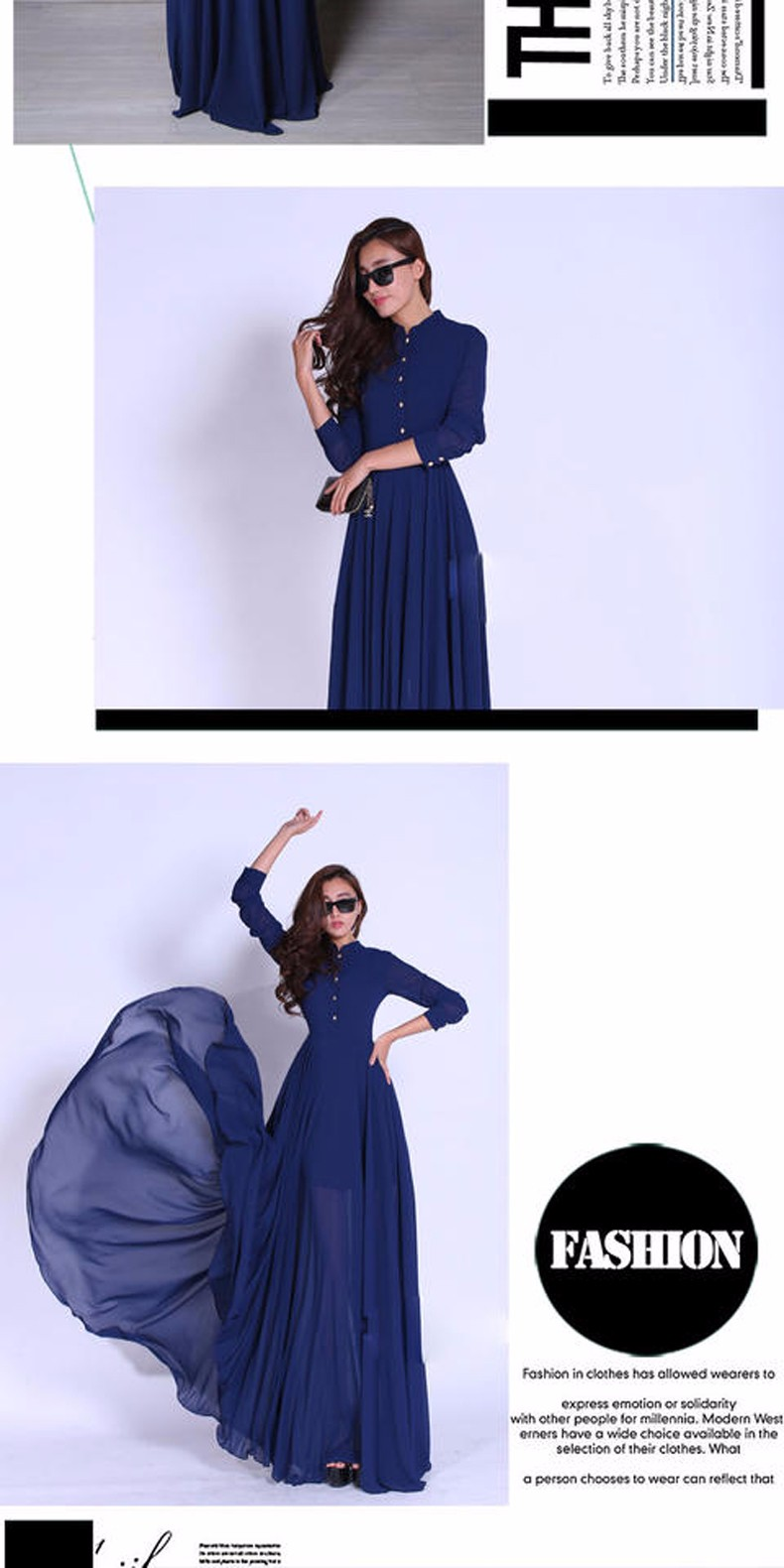 New fashion long summer chiffon women dress