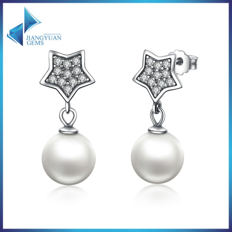 fancy design 925 silver artifical pearl hanging earrings
