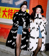 Women Winter Fluffy cheap black cross fake mink fur coat