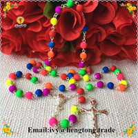 8mm mixed fluorescence color plastic beads rosary, religious catholic rosary necklace with saint chalice centerpiece and cross