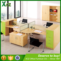 Open space four people office workstation / office desk furniture partition in Penang