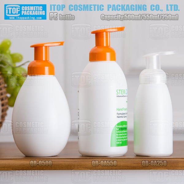 500ml 550ml 250ml round shape foaming pump hdpe hand soap dispenser plastic bottle