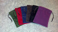 "6"" x 10"" velvet drawstring pouch with bridal satin cording"