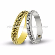 14K Solid Gold Art Design His Her Wedding Band Custom Engrave Set Leaf Ring