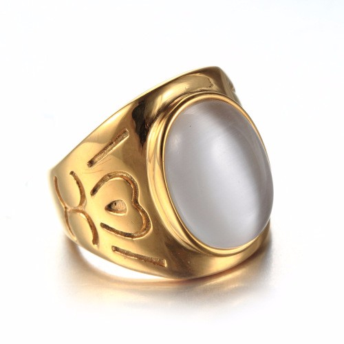 Popular Film Jewelry Gold Plated Moon Stone Wedding Engagement White Green Gemstone Women Bella Ring