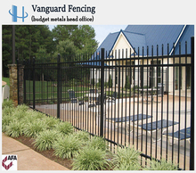 Powder Coated Steel Spear Style,3 Rail Ornamental Fence