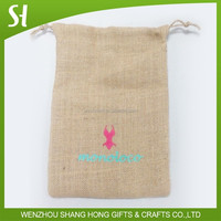 Screen print cheap small jute drawstring bag for gift wholesale