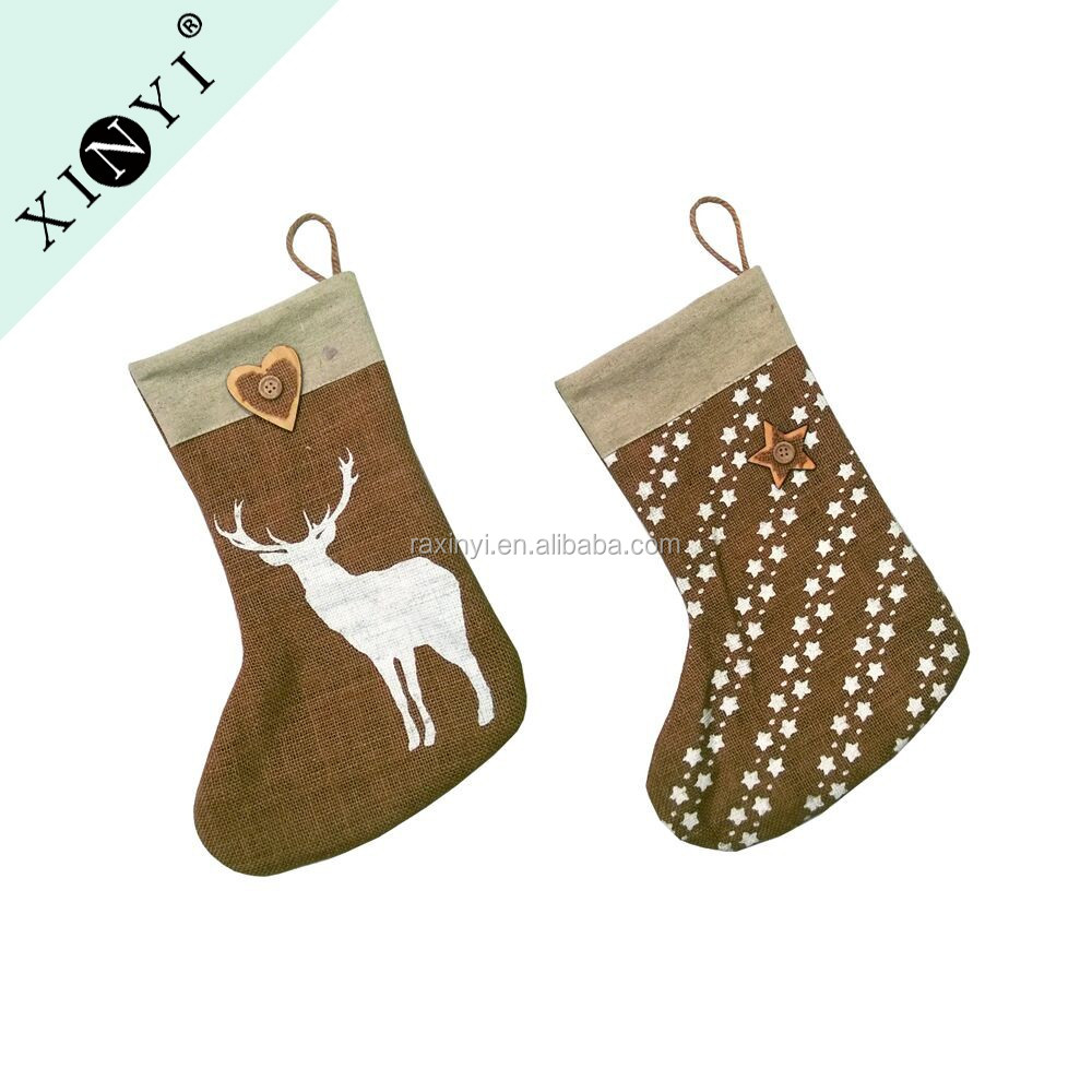Wholesale Blank Home Decor Jute Burlap Christmas Stockings