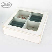 Small wooden 4 grid jewelry trinket makeup display boxes with glass lid