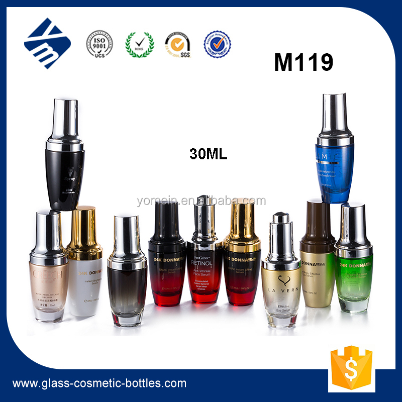 30ml Hot Stamping Screen Printing Serum Glass Bottle with Silver Plastic Cap/ Spray Pump