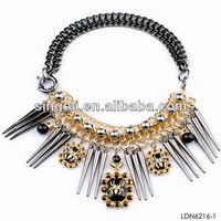 Ornate long spikes steampunk collar necklace fashion wholesale exotic jewelry
