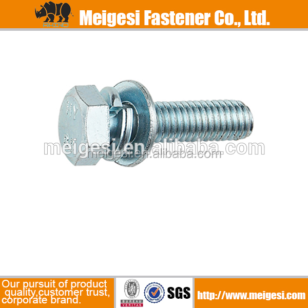 SEMS bolt/Hexagon head bolt and washer assemblies carbon steel zinc plated Made in China supply high quality cheaper