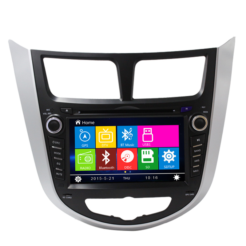 2016 Newest car dvd player gps navigation headrest monitor ,wince system and 2 din for hyundai Verna ,Hot!
