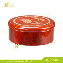 Glossy Lacquer Round Art Design Wooden Music Box for Jewelry