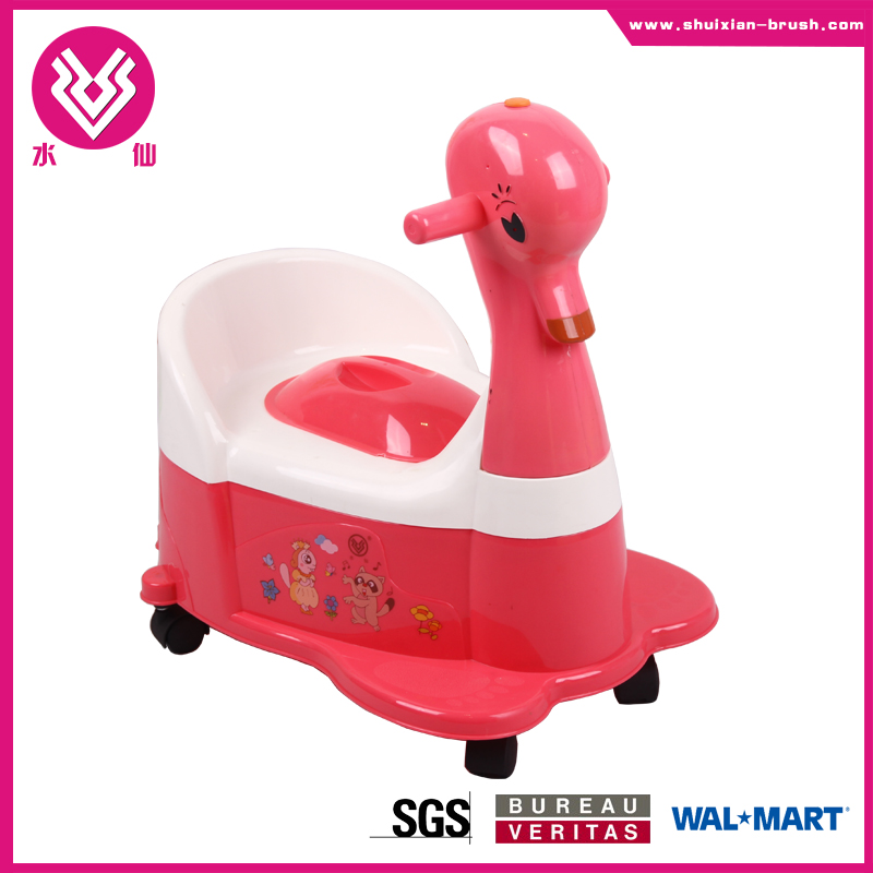 SGS approval cheapest DUCK shape baby potty training seat plastic portable infant potty chair with wheel BN7202D