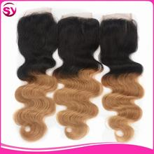 12inch Cheap Lace Clsoure Bleached Knots Middle/Free Parting/3 Way Part Closure Ombre Hair Extensions Lace Closure