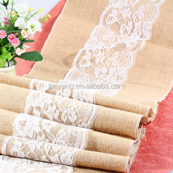 Country Wedding Table Runner Handmade Burlap Table Runner with White Lace (CB677)