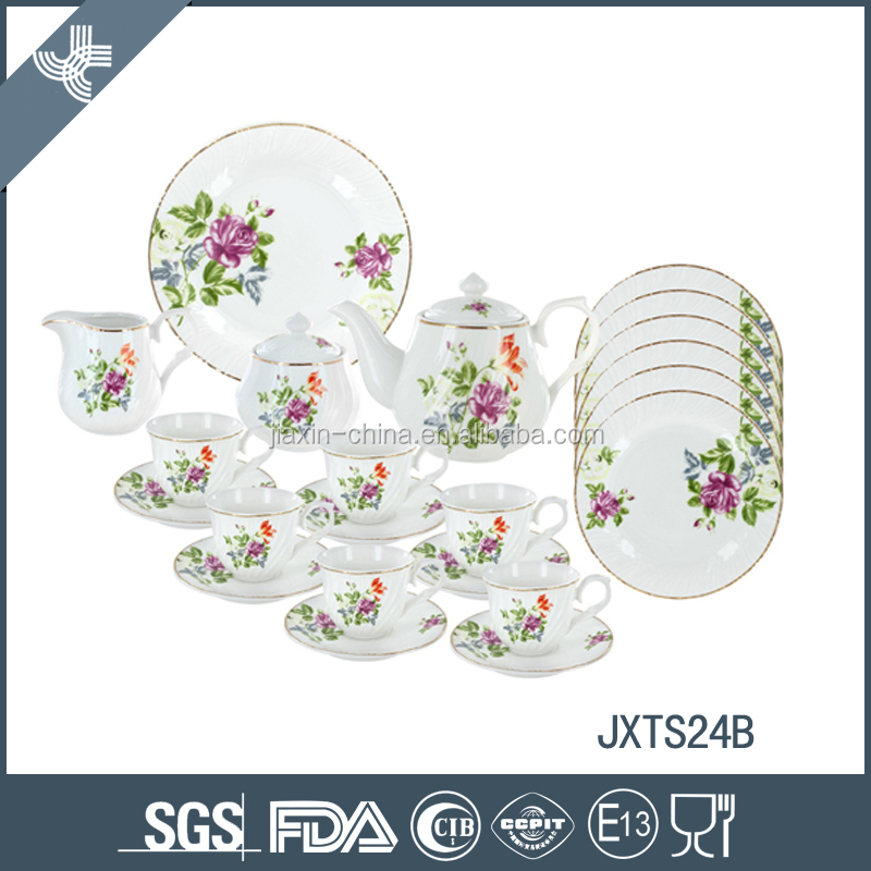 2016 new design 24pcs tea set with flower decal and gold rim, embossed round shape tea set