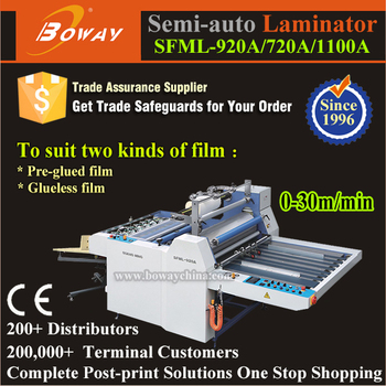 30m/min Semi-auto Hot Roll Pre-glued and Glueless Film Paper laminator