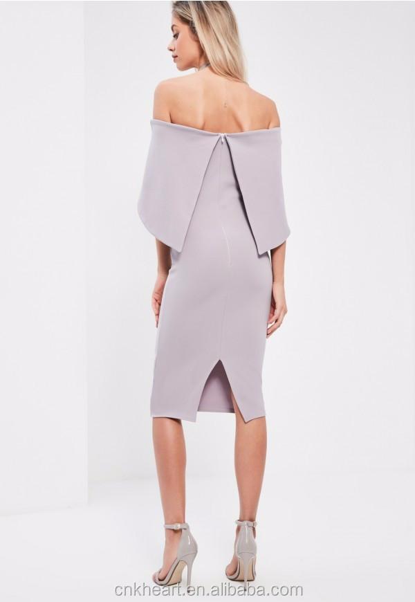 2018 г. модные весенние женские платье с открытыми плечами сиреневое раза более бандо женские миди платье