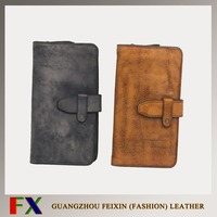 Guangzhou online selling european style 100% handmade vintage leather wallets for woman and men