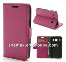 Wallet Type Case Galaxy Core, Book Flip Cover For Samsung I8282 - Fuchsia