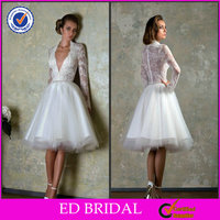 EDW334 Sexy Lace See Through Knee Length Wedding Dresses with Sleeves