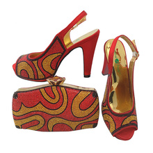 Sinyafashion wholesale red italian shoes and bag set high quality bag and shoes set