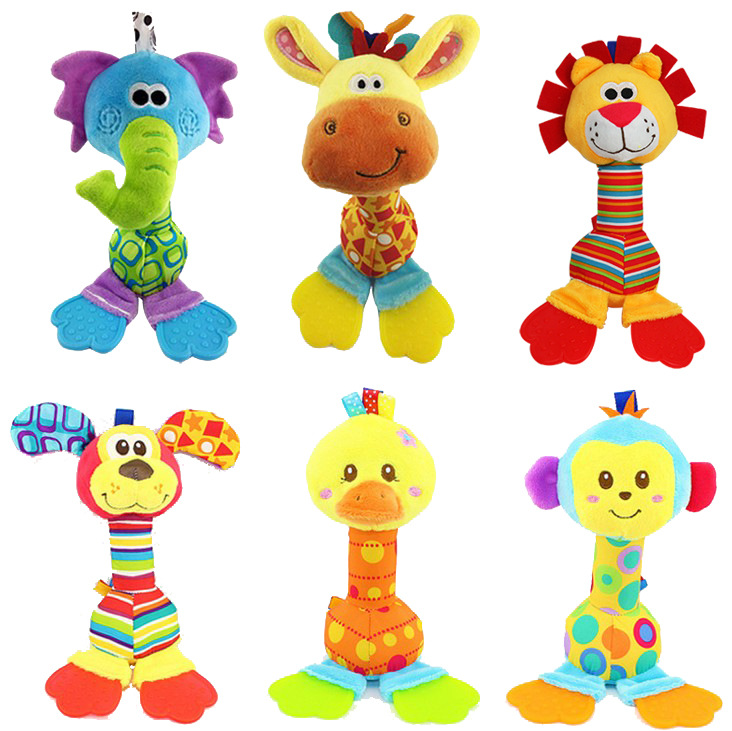 Top quality cheap happy monkey giraffe rattle baby teething toy