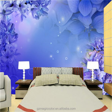 blue pattern glow in the dark wall paper for house decoration