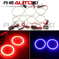 Autoki 12V White/ Blue/ Red/ Green/ Yellow/ Purple COB LED 80mm Angel Eyes Light For Cars
