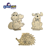 Factory price high quality lovely animal wood pen holder diy craft