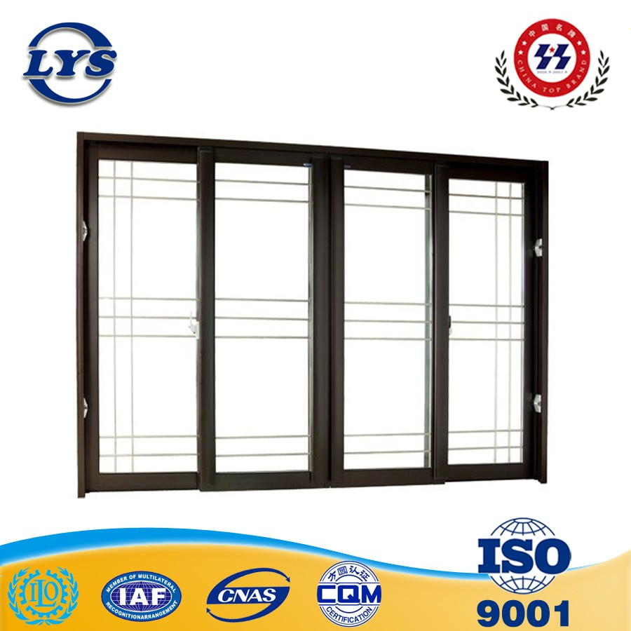 Anodized black aluminum glass sliding window casement windows with 6mm thickness glass and mosquito nets