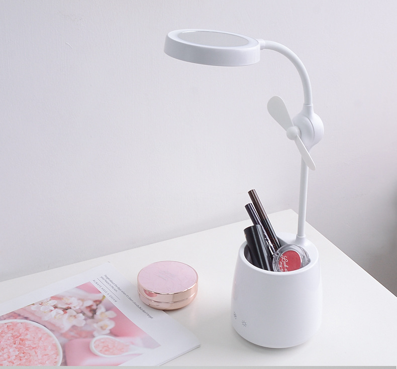 LED reading table lamp with Mini fans torus LEDs and stepless dimming sensor touch