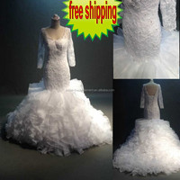Free Shipping Factory Custom Made Long Good Quality Soft Netting Beaded Lace Appliqued Off White Latest Arabic Wedding Dress
