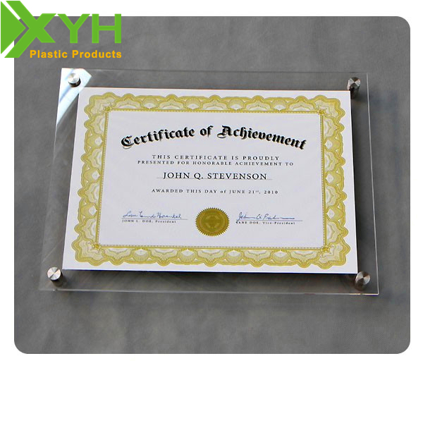 Clear Magnetic Acrylic Photo/Picture/Certificate Frame Wall Mounted