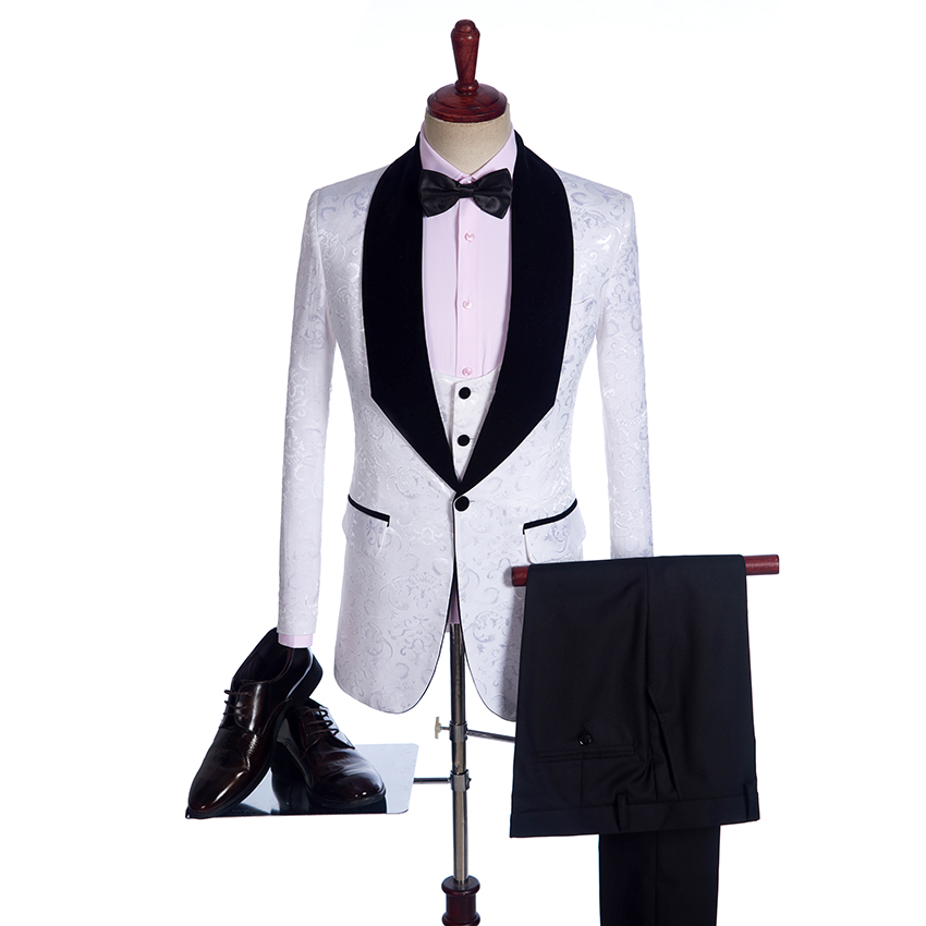 M02 White 3 pieces Suit Customized Size Evening Party Menswear High Quality Wedding Suits Groomsman Best Man (jacket+pants+vest)