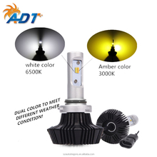 2018 Popular dual color Series LED Headlight <strong>Bulbs</strong> Conversion Kit 9006 HB4 50W 4000LM Adjustable Chuck and Base, NOISE-FREE