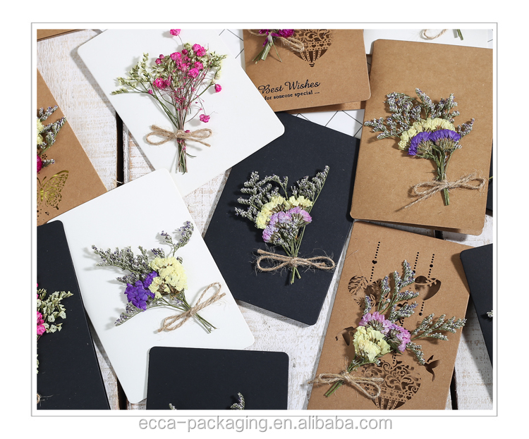Best sale dried flower greeting card happy birthday new year greeting cards with envelope
