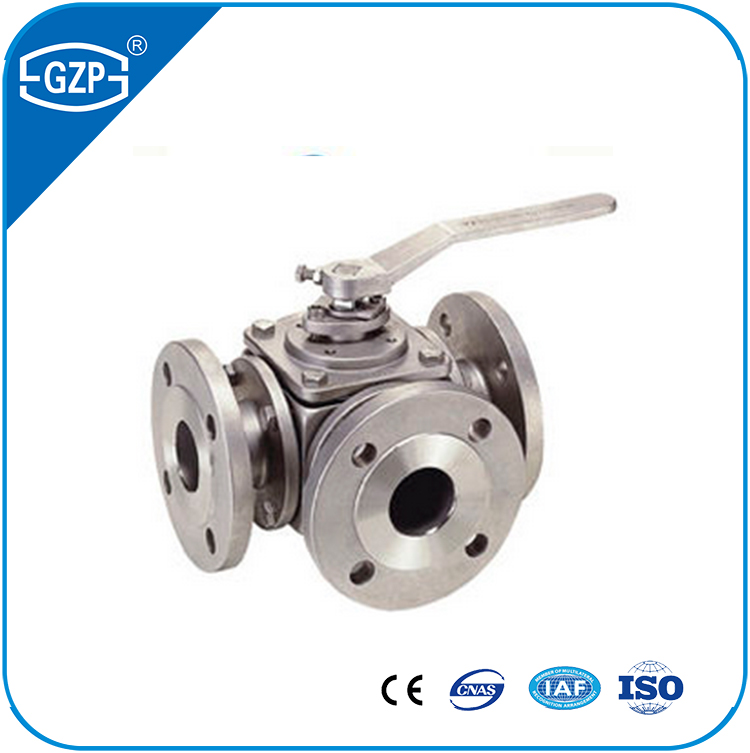 ANSI DN100 stainless steel304 316L 3 way L port T port ball valve with flange