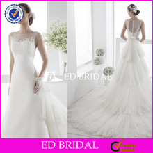 YW147 Charming Cap Sleeve Covered Back Detachable Tiered Skirt Wedding Dress Long Tail