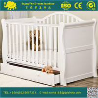 Solid Wood Baby Crib Sleigh Cot With Drawers