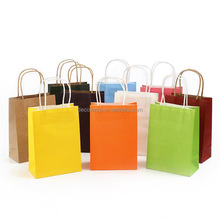 Cheap Paper Bag Kraft Gift bag with handle/wedding birthday party gift package bags / Christmas new year Wholesale