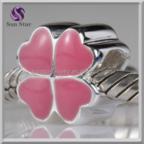 925 sterling silver four leaf clover bead pink enamel charms for girls