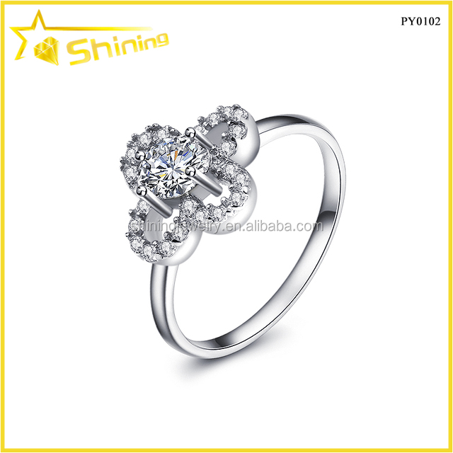 Micro Pave Cubic Zirconia Diamond sterling silver 925 four leaf clover ring