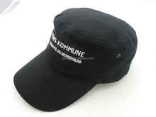 hot selling small logo on side black flat top military cap